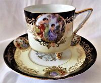 BEAUTIFUL ROYAL HALSEY VERY FINE CHINA FOOTED CUP & SAUCER