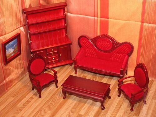 Muñecas muebles Salón Marcos marrón 1:12 6 piezas
