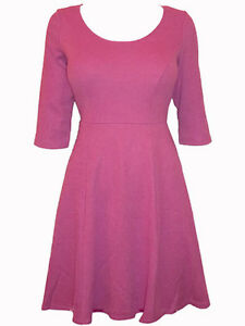 Dorothy Perkins Strawberry Pink Fit /& Flare Dress with 3//4 Sleeves