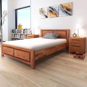 Vidaxl Bed Frame Solid Acacia Wood Queen Size Wooden Brown Bedroom Furniture
