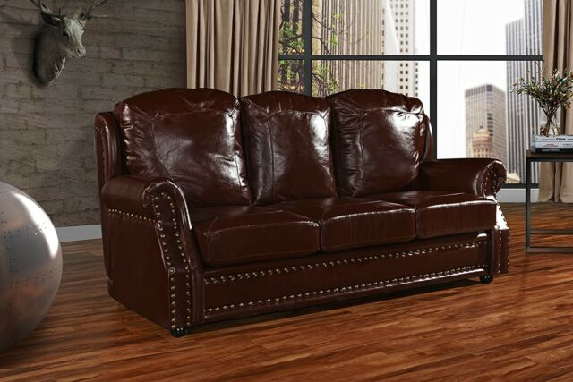Leather Sofa 3 Seater, Living Room Couch, Nailhead Trim (Dark Brown)