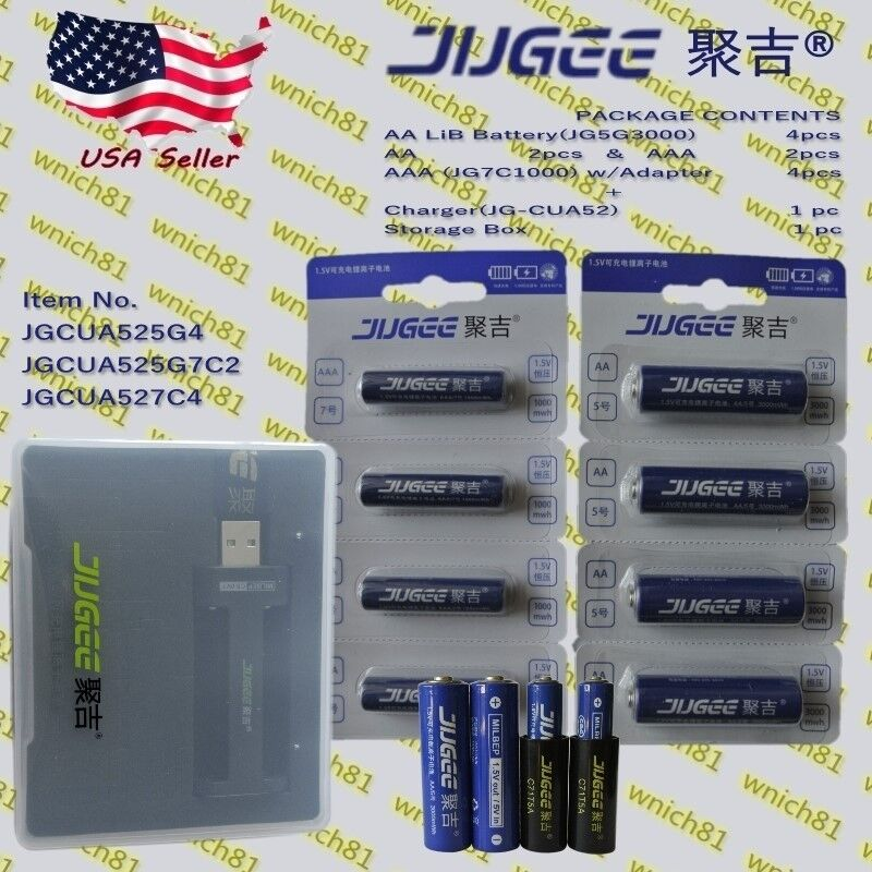 JUGEE 1.5V 3000mWh  1000mWh AA AAA Li-Ion Rechargeable Batteries w  2slot charger  low price