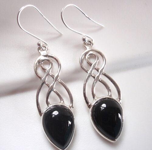 Black Onyx double infinity 925 Sterling Silver Dangle Boucles d/'oreilles