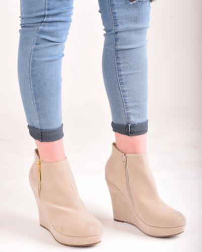 Ladies Womens High Heel Platform Wedges Ankle Boots Gold Zip Casual Walking Shoe