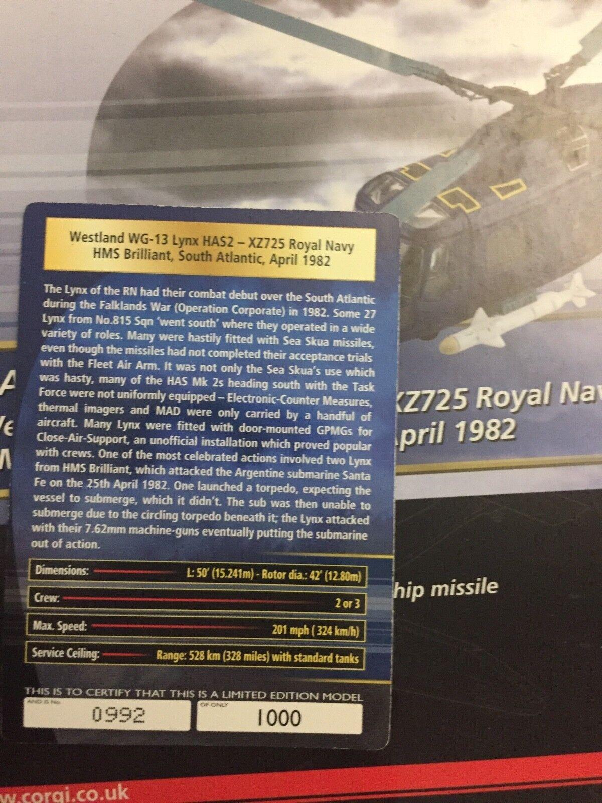 Corgi westland sea sea sea linx has 2 saud Atlantic war 9fc6b0