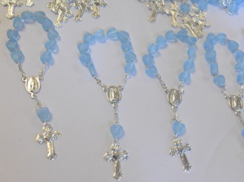 24 X RECUERDOS COMUNION AZUL FAVORS MINI ROSARY BLUE HEART BAPTISM CHRISTENING H