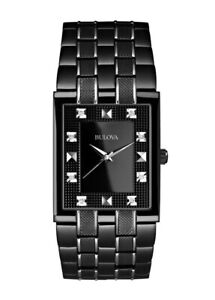 Bulova-Men-039-s-Quartz-Diamond-Markers-Black-Bracelet-30mm-Watch-98D111