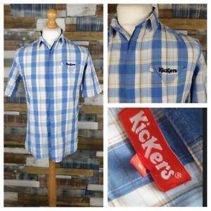 Kickers-Blue-Plaid-Check-Mens-Shirt-Retro-Cotton-Short-Sleeve-Size-Medium-M