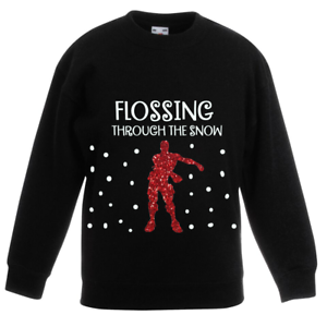 Kids Boys Christmas Jumper Sweatshirt TOP Flossing Through The Snow Outfit Girls