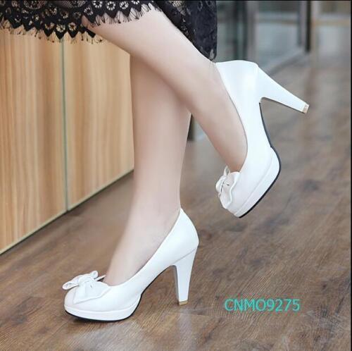 Chic Mujer Bonito Vestido Tacones Altos Imitación Cuero Zapatos Con Moño De Puntera Puntiaguda Talla EE UU.