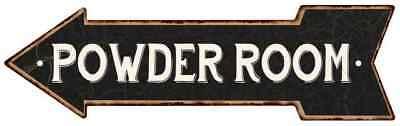 Powder Room Left Arrow Vintage Looking Metal Sign 5x17 205170004012