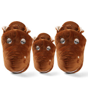 Adult-Kid-039-s-Horse-Animal-Plush-Stuffed-Slippers-Winter-Warm-House-Indoor-Shoes