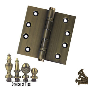 Door-Hinge-4-x-4-Solid-Brass-Ball-Bearing-Antique-Brass-With-Tips