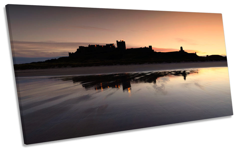 Bamburgh Castle Sunset PANORAMIC BOX FRAME CANVAS ART Picture