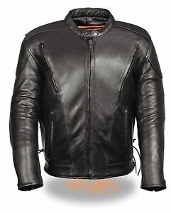 Mens-Black-Vented-Leather-Scooter-Jacket-Side-Laces-Padded-Back-Gun-Pockets