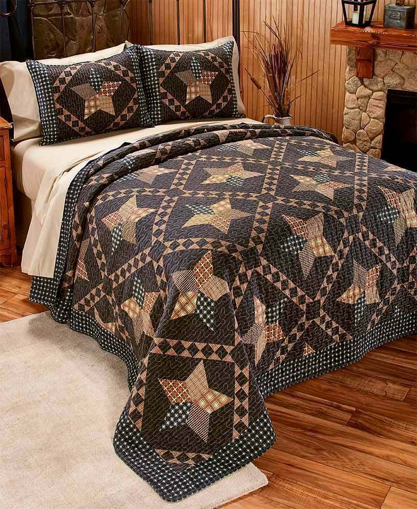 3pc PADUCAH STAR Queen Quilted Coverlet SET Brown Printed Patchwork Primitive