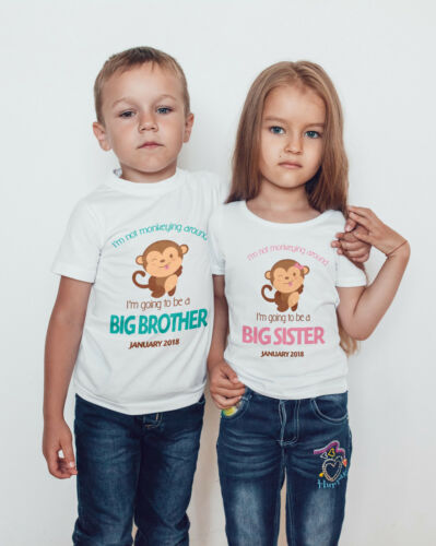 BIG SISTER//BROTHER CUTE MONKEY Personalised T-shirt//bodysuit //kids//baby//toddler
