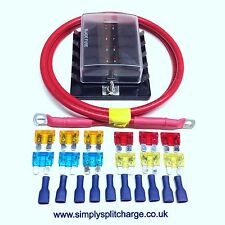 10-Way Blade Fuse Box with 1 MTR 70amp Ready Made Power Lead + Mixed Fuses