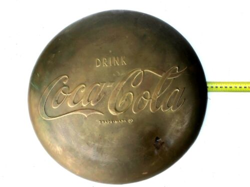 Vintage Coke Coca Cola Brass Button Sign Embossed 41cm