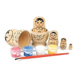 Paint Your Own Russian Dolls - Craft Set of 5 Matryoshka Kit Boxed