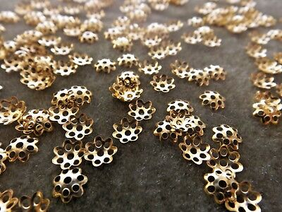 519 100 Spacer beads antique gold pewter 7x2mm daisy flower beads 1.5mm hole