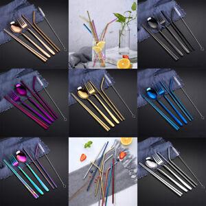 Stainless-Steel-Spoon-Fork-Chopsticks-Dinner-Set-Metal-Straw-with-box-Xmas-CPTH