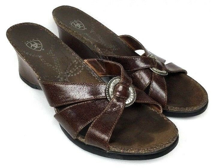 ARIAT Brown Leather Sandals Wedge Slide Silver Ring Style 20903 Sandals Leather Sz 9B 2dc485