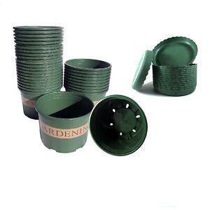 """10-30 pcs/6.26""""-9.8"""" Green Plastic Pots with Tray indoor outdoor Garden plants"""