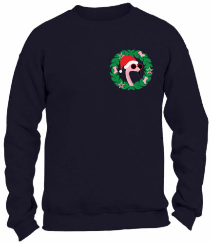 Christmas Flamingo Pocket Sweatshirt Funny Xmas Flamingo Ugly Sweater for Xmas