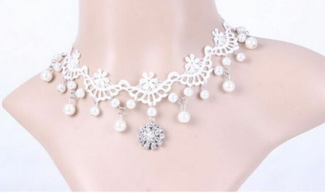 Vintage Style Bridal White Lace Pearls Gothic False Collar Choker Necklace N330