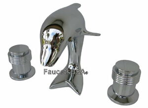 3pc dolphin sink faucet chrome ring handles free ship allbrass 2144ci 139 ebay - Dolphin sink faucet ...