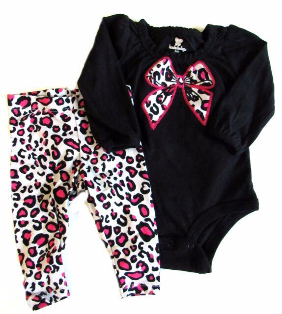 eb230f701b5 New Koala Baby 3 Months Bodysuit Pants Cheetah Black Pink Girls Bow long  Sleeve
