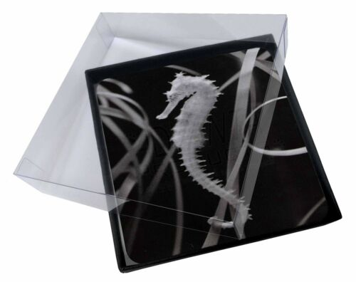4x Seahorse Picture Table Coasters Set in Gift Box AF-24C