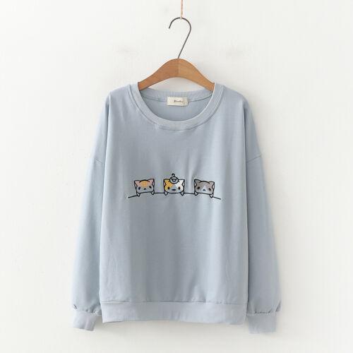 Kawaii Clothing Ropa Harajuku Cute Cat Sweatshirt Preppy Style Pullover Jumper