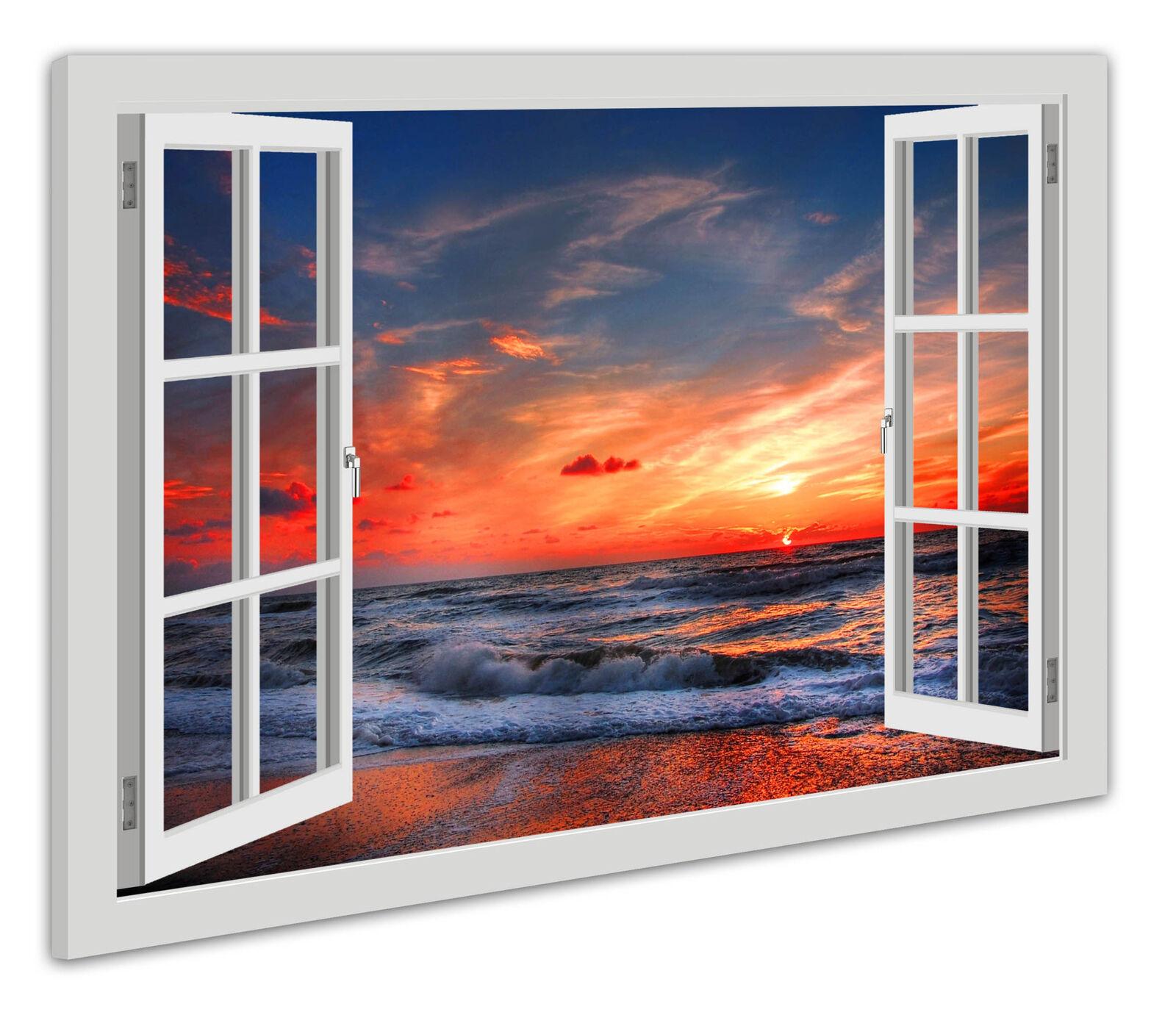 Tela parete finestra immagine immagine immagine sguardo SPIAGGIA MARE DEL NORD TRAMONTO MARE 2fa1dc