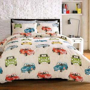 Bedding-Minis-Mini-Cooper-Retro-Cars-Cream-Beige-Duvet-Cover-Quilt-Bedding-Set