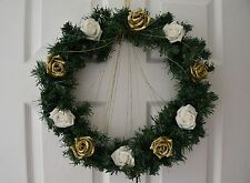 Christmas Wreath with white glitter roses, gold glitter roses and glitter spray