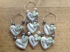 wine charms Top Table Handmade Add Any Name Hearts One Only