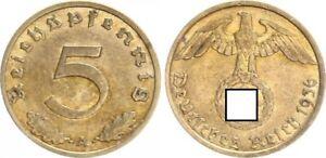 Third Reich 5 Pfennig 1936 A Seltenes Year Vf-Xf (2)