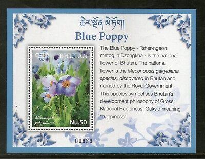 Stamps Purposeful Bhutan 2017 Blue Poppy National Flowers Flora Plant M/s Mnh # 12571