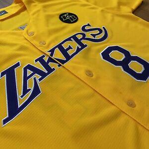 Kobe Bryant Jersey MLB style Lakers Yellow 8 24 Nike KB Patch Size ...