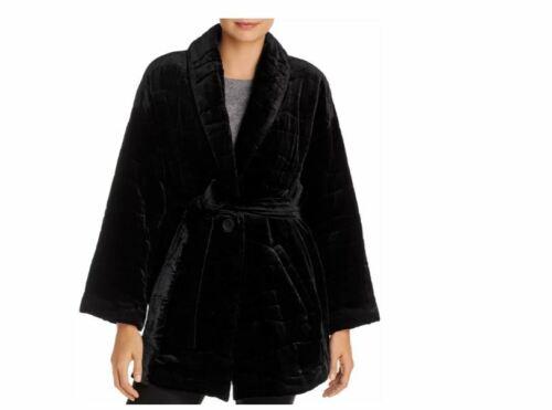 Details about  /Eileen Fisher Petites Belted Velvet Long Jacket Coat Black Size PL~ NWT