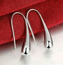 "18K White Gold Plated Threader Drop Dangle Hook Earrings 1"" Drop made in ITALY"