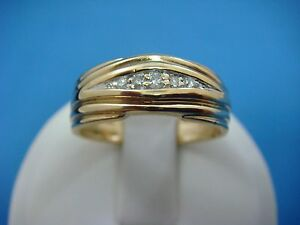 !14K YELLOW GOLD MEN`S VINTAGE WEDDING BAND WITH DIAMONDS SIZE 8.5