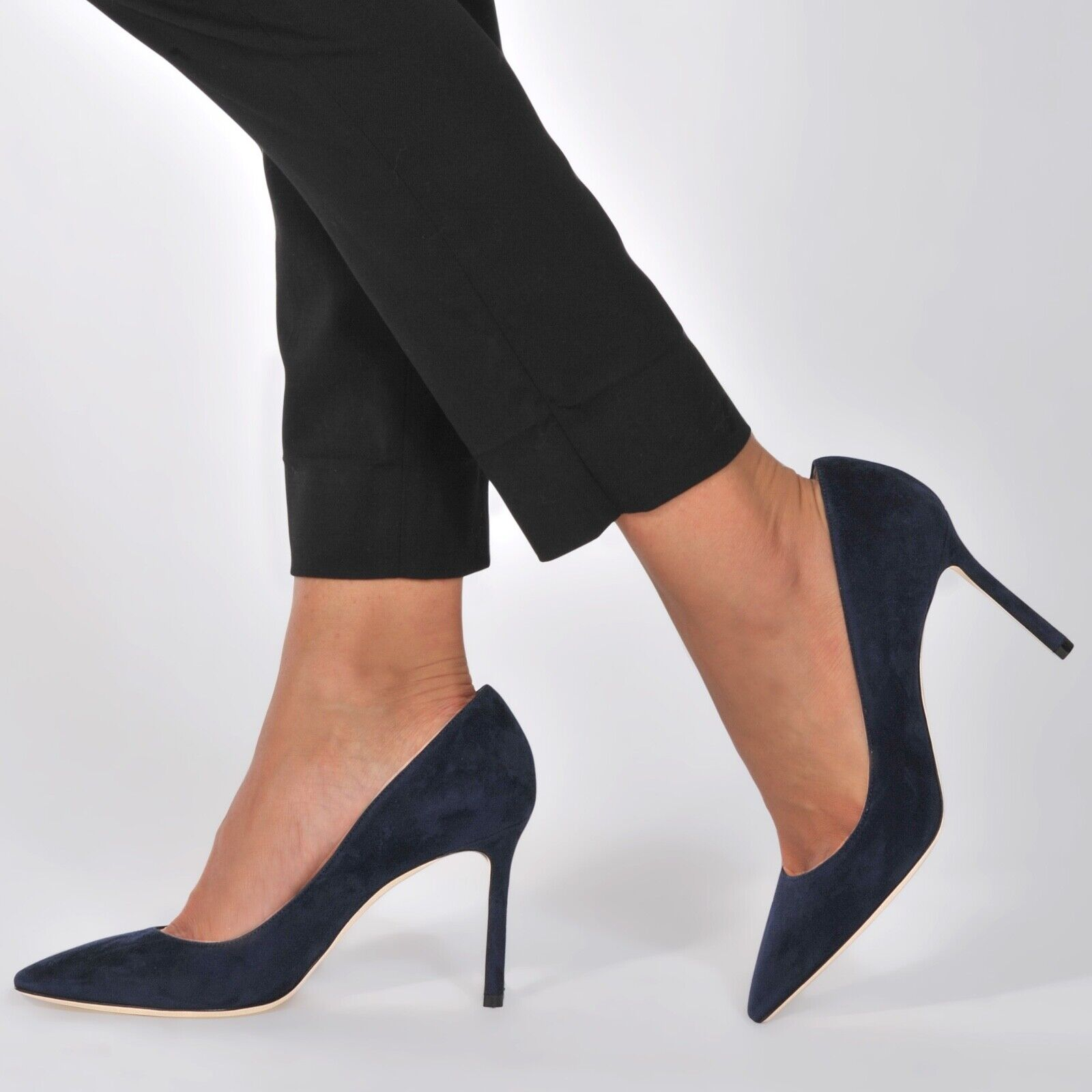 Jimmy Choo Romy Escarpins 85 mm Daim Bleu Talon Chaussures Taille 36 (US 6) 595