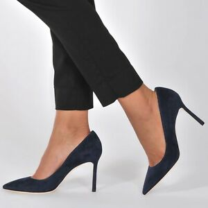 4e5aa4241f Jimmy Choo Romy Pumps 85mm Blue Suede Heel Shoes Size 36 (US 6) $595 ...