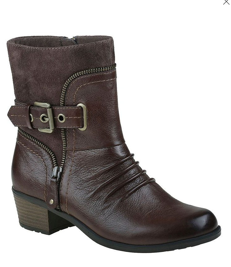 NEW EARTH DOLLY BROWN LEATHER ANKLE/MID BOOTS Damenschuhe 9 MACCHIATO ZIP SIDE