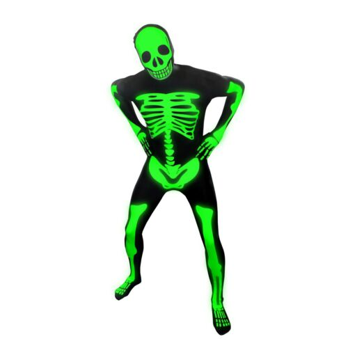 Skeleton Glow In The Dark Official Morphsuit Size M Fancy Dress Costume Outfit