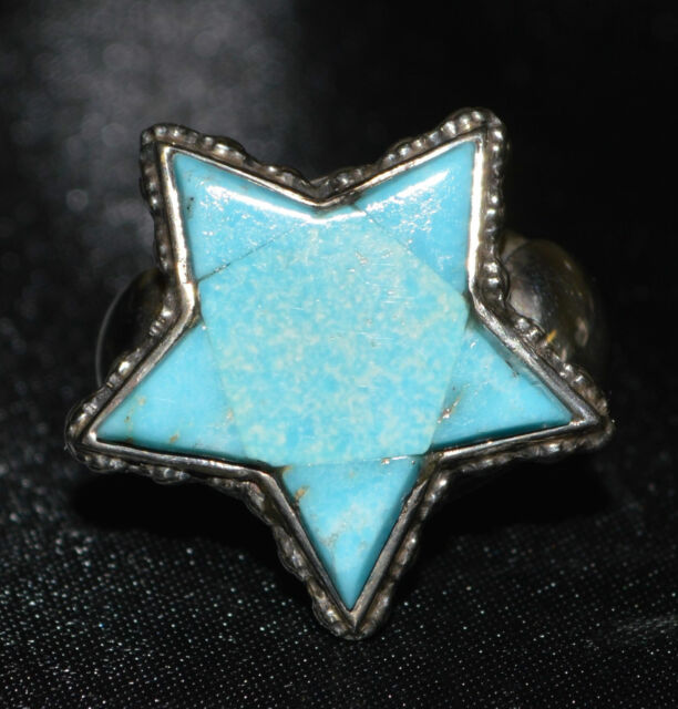 Turquoise Star and Sterling Silver Ring, Navajo