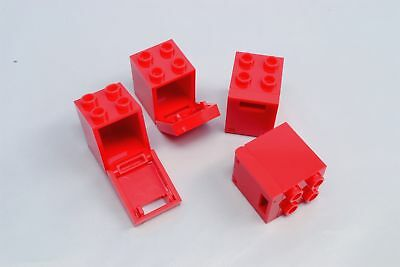 *NEW* 10 Sets Lego Container RED 2x2x2 WHITE Door with Slot 4345 4346
